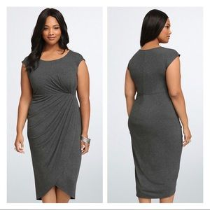 NWT Torrid Gray Shirred Tulip Midi Dress Size 3 3X